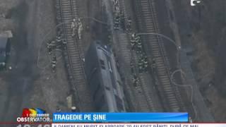 Tren deraiat pe o cale ferată din New York