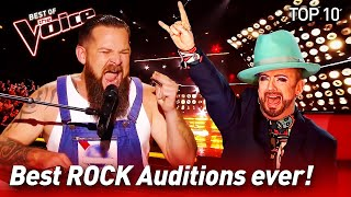 TOP 10 | ROCK Blind Auditions that made The Voice coaches go...