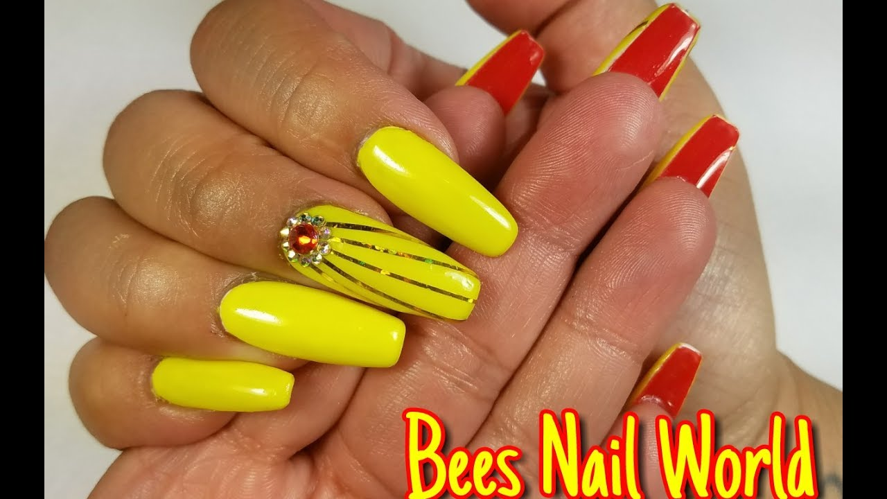 Neon Yellow Red Bottom Coffin Shaped Nails