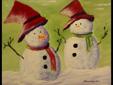 Easy Acrylic Snowman Painting Arte Inspire