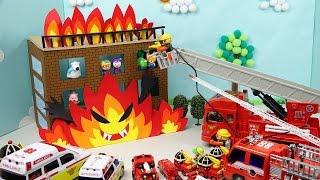 소방차 장난감 고가사다리 소방대 구출작전 폴리 소방차 구급차 뽀로로 장난감 소방본부 총출동! Toy FireTruck Fire Station Rescue Cars
