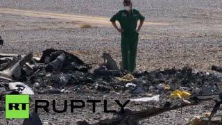 RAW: Egypt investigators at Russian Metrojet 7K9268 A321 jet crash site in Sinai