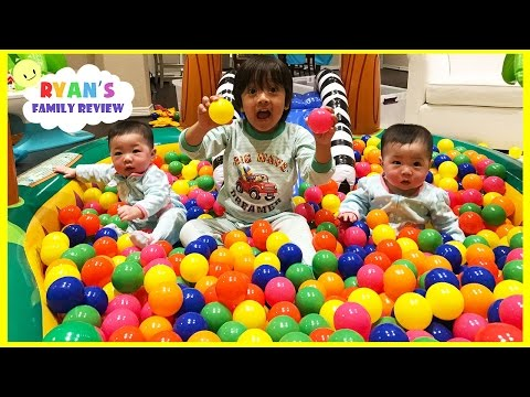 Learn COLOR with Twin babies and Ryan on ball pit pool set and 100 + color balls