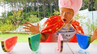 수박 색깔 슬라임 놀이 해요! Learn Color Giant Watermelon Pretend with colors song nursery rhymes