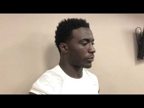 Dylan Moses speaks to reporters after Alabama's A-Day game