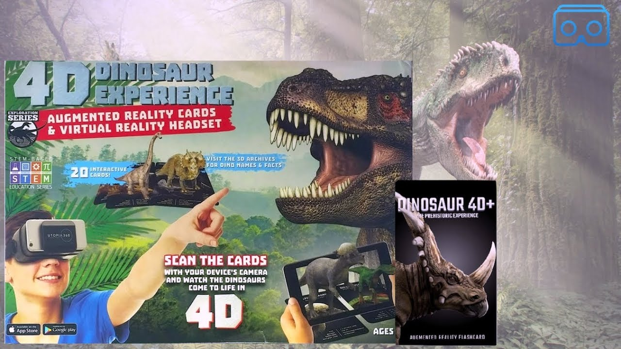 4D Dinosaur Experience Augmented Reality Cards /& VR Headset