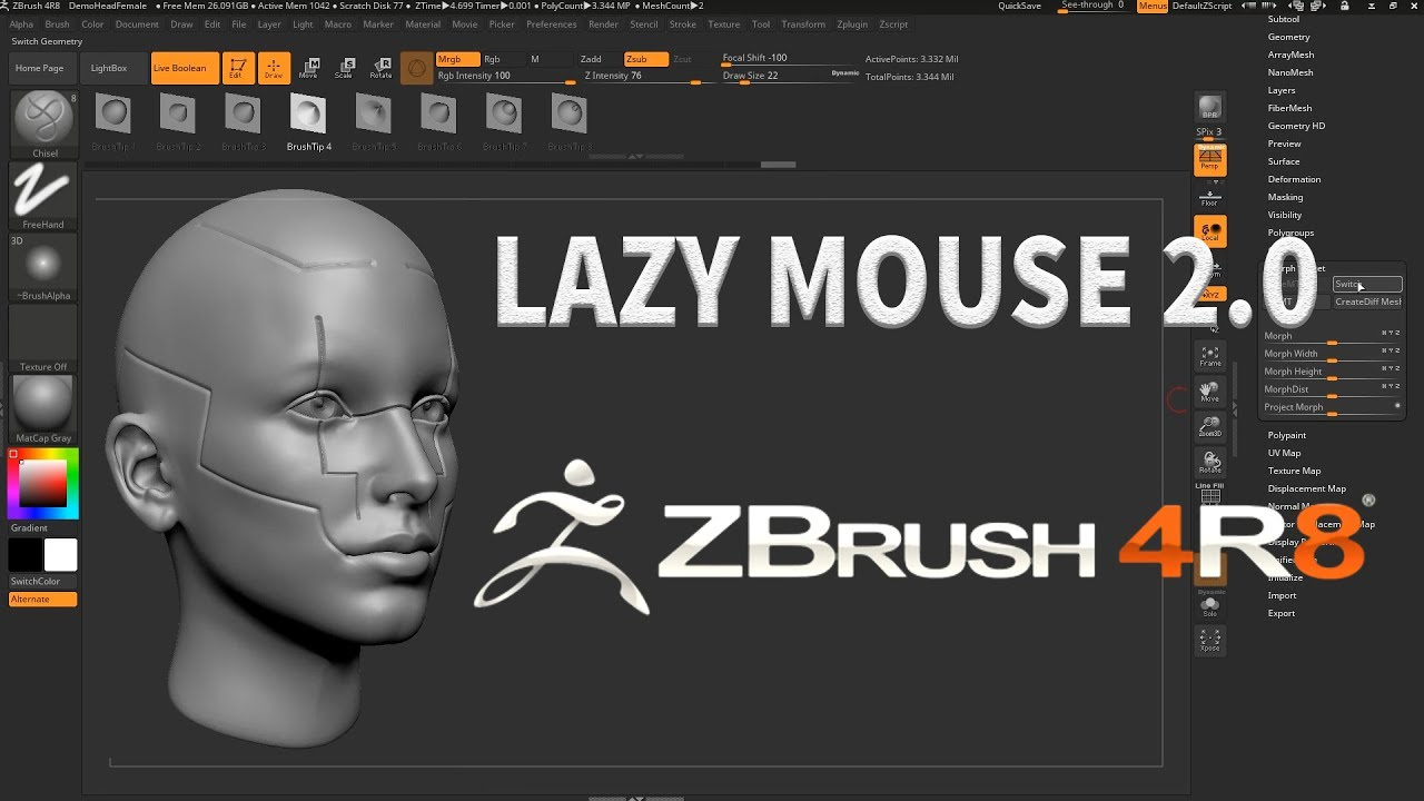 ZBRUSH 4R8 - LAZY MOUSE 2 0