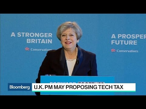 U.K.'s May Proposing Tech Tax in Push for Safer Web