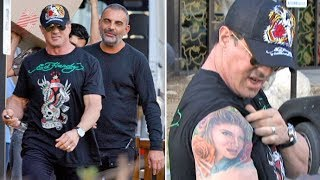 Sly Stallone Shows His Massive Tattoo Of Wife Jennifer Flavin To Christian Audigier [2007]