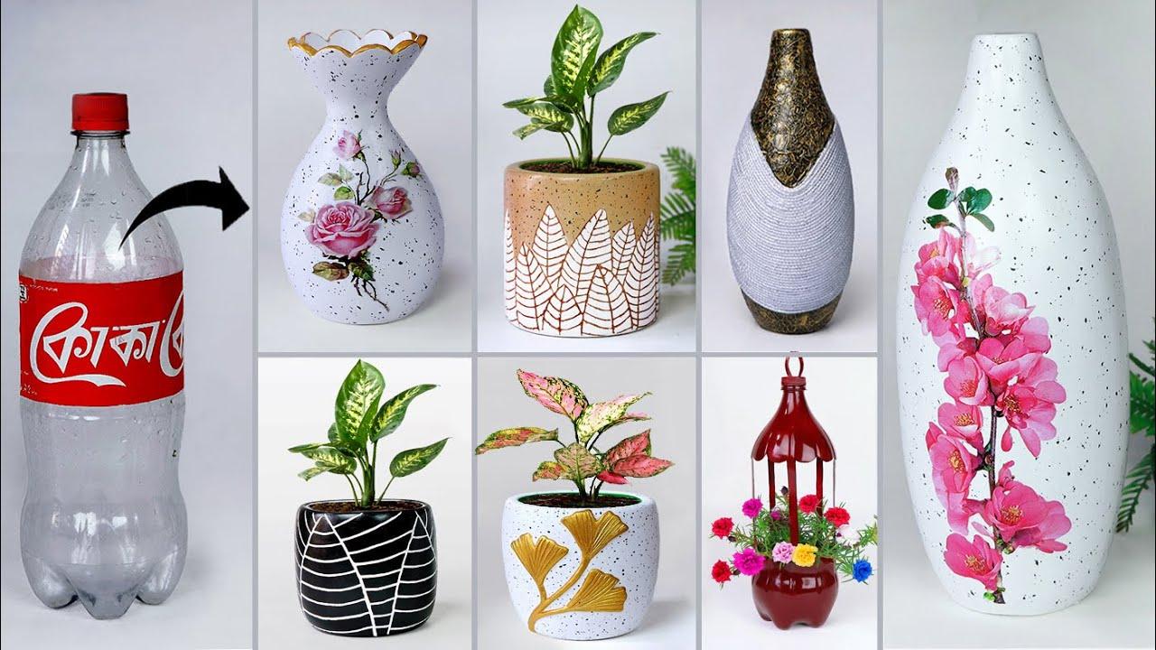 Plastic bottle flower vase making - Cement pottery making    प्लास्टिक की बोतल फूल फूलदान बना रही है