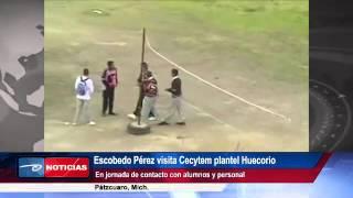 Pátzcuaro, Mich. Escobedo Pérez visita Cecytem plantel Huecorio