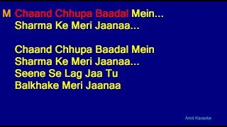 Chaand Chhupa Badal Mein - Udit Narayan Alka Yagnik Duet Hindi Full Karaoke with Lyrics