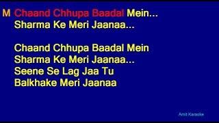 Gambar cover Chaand Chhupa Badal Mein - Udit Narayan Alka Yagnik Duet Hindi Full Karaoke with Lyrics