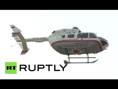Moscow Metro Crash: Helicopters, ambulance & rescue crews at Park Pobedy station