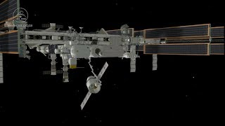 Animation of Canadian robots Canadarm2 and Dextre catching and unloading Dragon