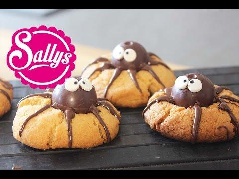 Erdnussbutter-Schokoladen-Kekse 'süße Spinne' / Halloween Idee / Peanutbutter-chocolate cookies
