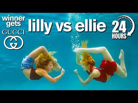 Lilly vs Ellie 24 Hour Underwater Photo Challenge *Winner Gets GUCCI*