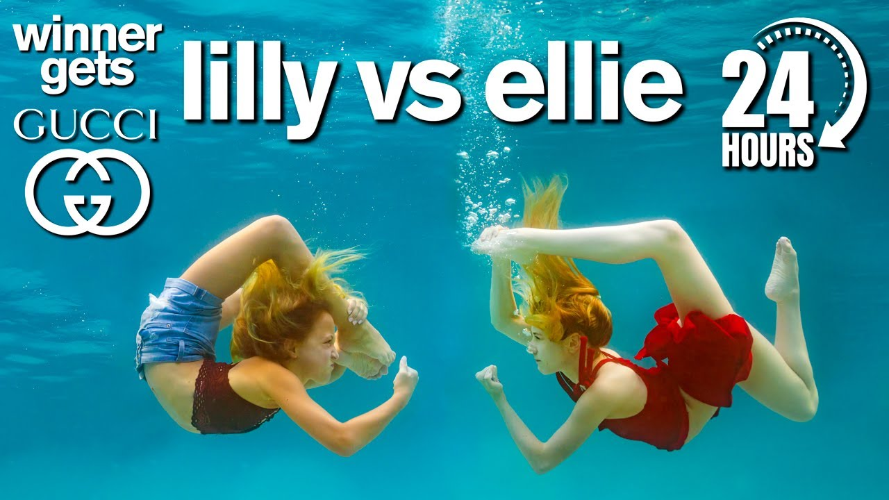 Lilly vs Ellie 24 Hour Underwater Photo Challenge *Winner Gets GUCCI*
