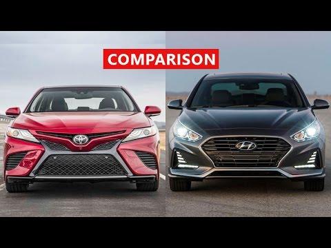 2018 toyota camry vs 2018 hyundai sonata comparison interior exterior test drive youtube. Black Bedroom Furniture Sets. Home Design Ideas