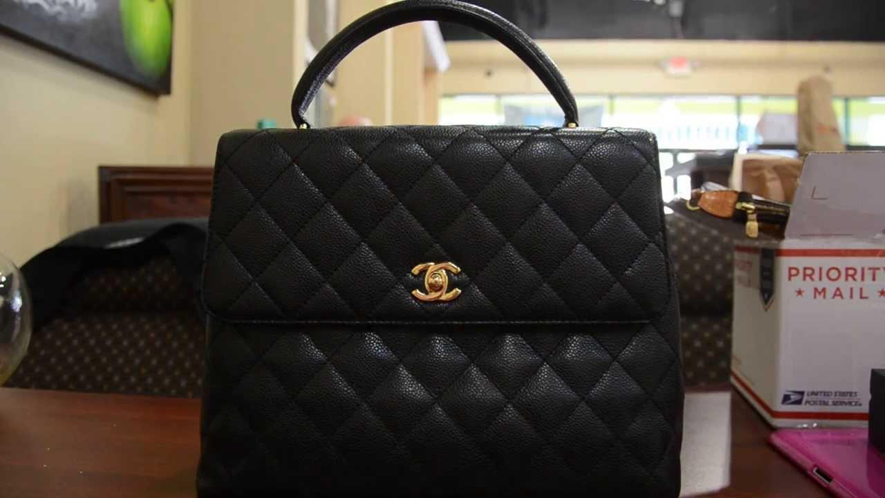 Pre Owned Chanel Kelly Handbag Jumbo Caviar Black Boca Raton You