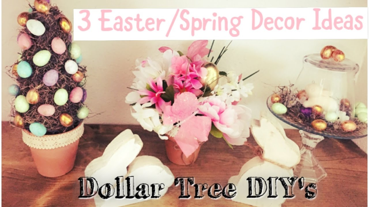 Dollar Tree Easter Spring Decor Ideas Topiary Cloches Centerpiece