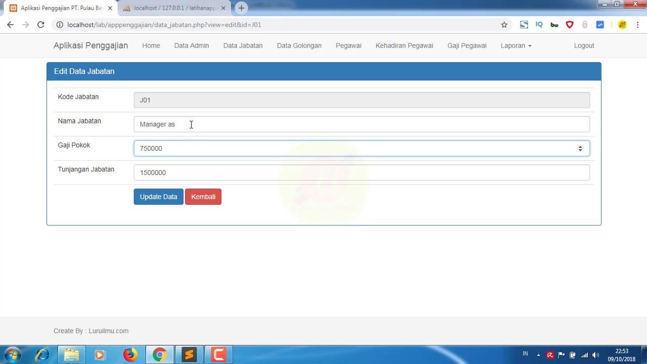 Cara Membuat Aplikasi Database Penggajian Berbasis Web Dengan Php Koding Data Jabatan Part 2 Youtube