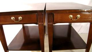 PAIR ANTIQUE VINTAGE MERSMAN MID CENTURY 1950's MAHOGANY END TABLES DANISH MODERN