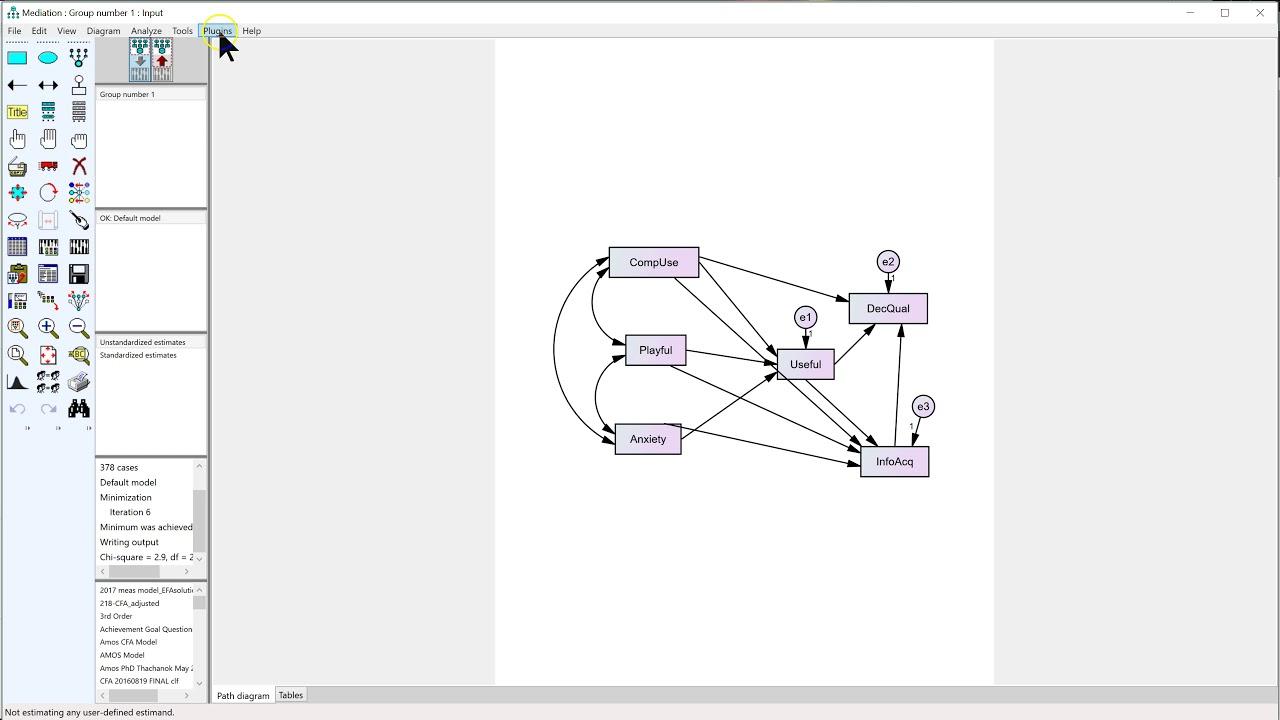 medium resolution of standardized estimates with p values plugin for amos