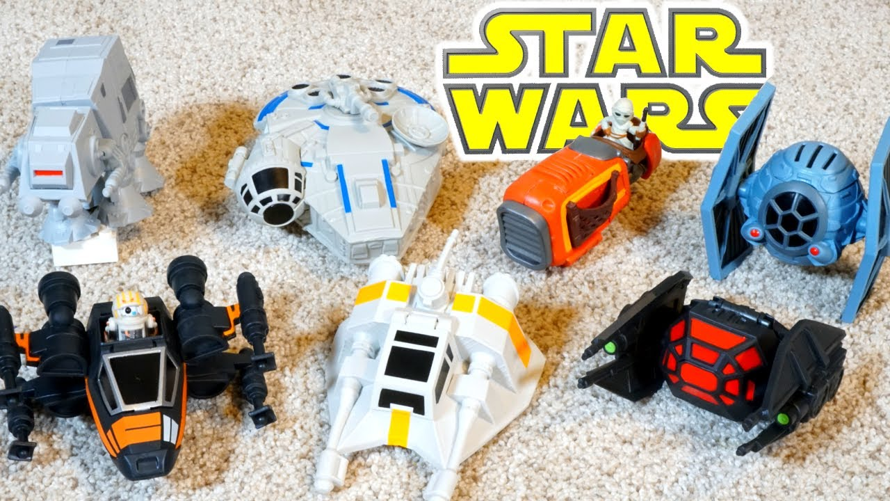 Star Wars Micro Force Star Ships X Wing Tie Fighter AT-AT Walker Reys Speeder Falcon
