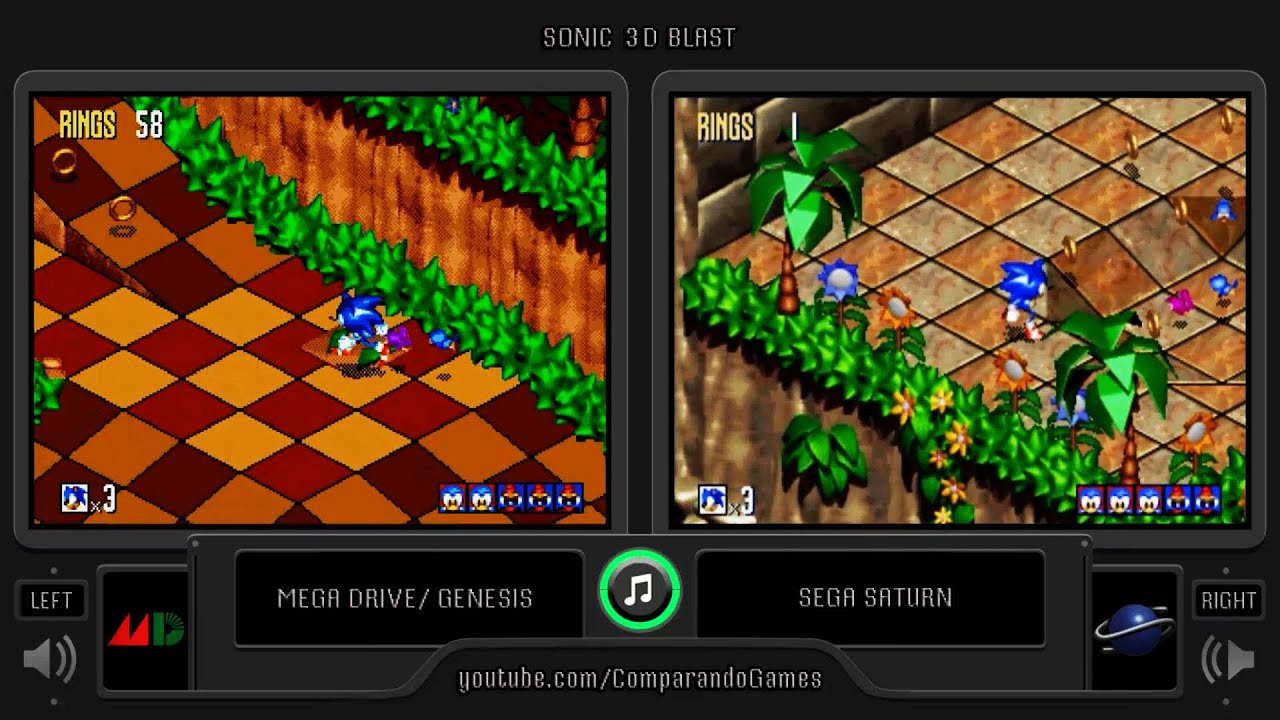 Sonic 3D Blast (Sega Genesis vs Sega Saturn) Side by Side ...