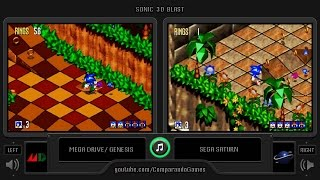 Sonic 3D Blast (Sega Genesis vs Sega Saturn) Side by Side Comparison