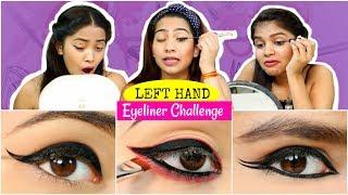 LEFT HAND Eyeliner CHALLENGE - Navratri Eyeliner Looks | #Beauty #Fun #Anaysa
