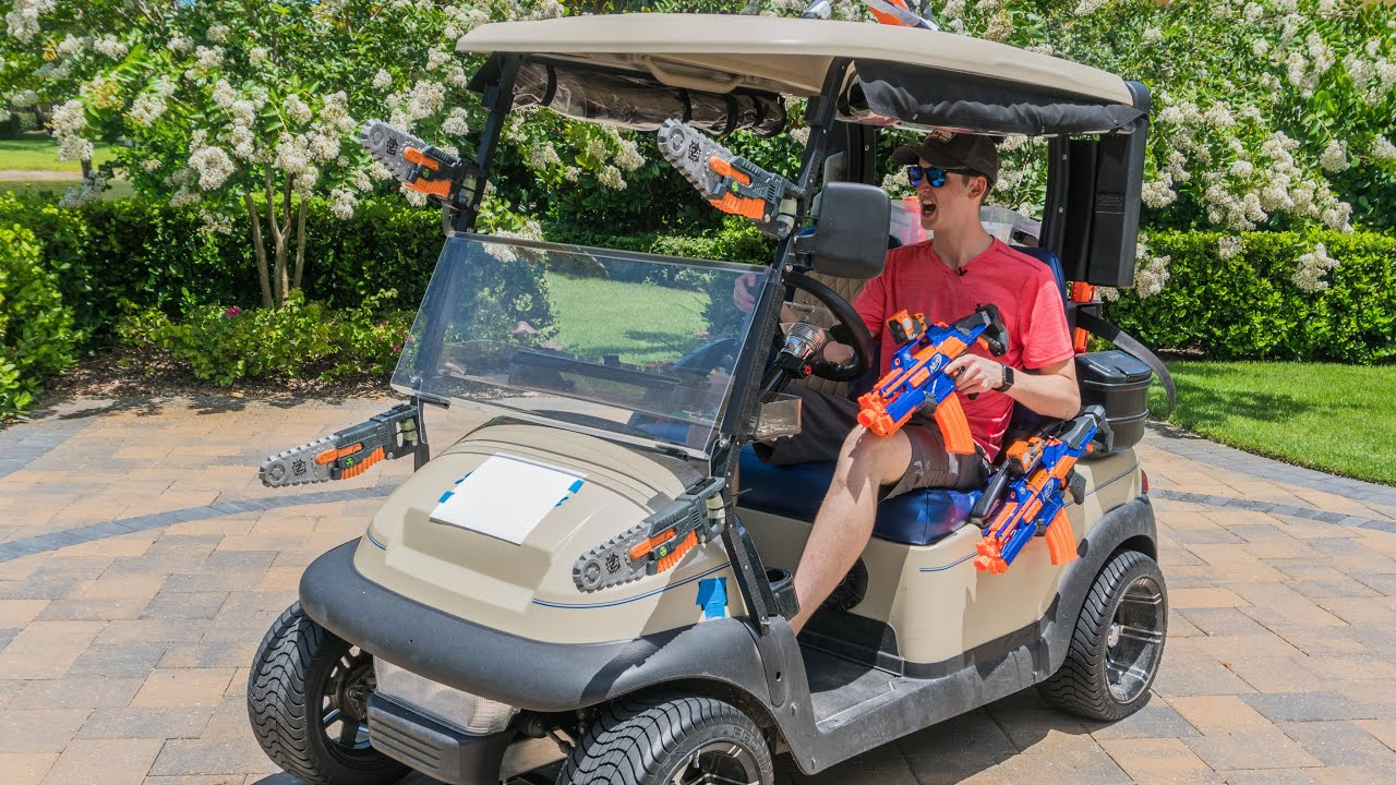 nerf battle golf cart youtube