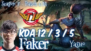 SKT T1 Faker YASUO vs RYZE Mid - Patch 6.24 KR Ranked