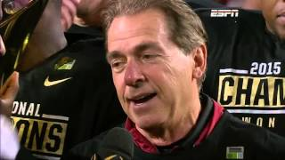 Nick Saban championship trophy presentation interview