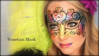 Venetian Mask Face Painting and Makeup