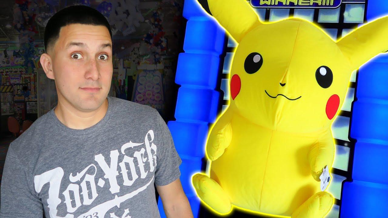 Can We Win It  Huge Pikachu Pokemon Plush  YouTube