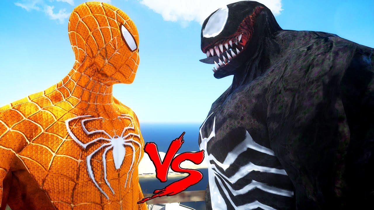 Orange Spiderman Vs Venom Epic Superheroes Battle
