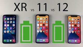 iPhone 12 vs 11 vs XR Battery Life DRAIN Test