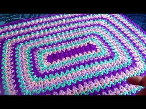 Вязание квадратных ковриков крючком видео