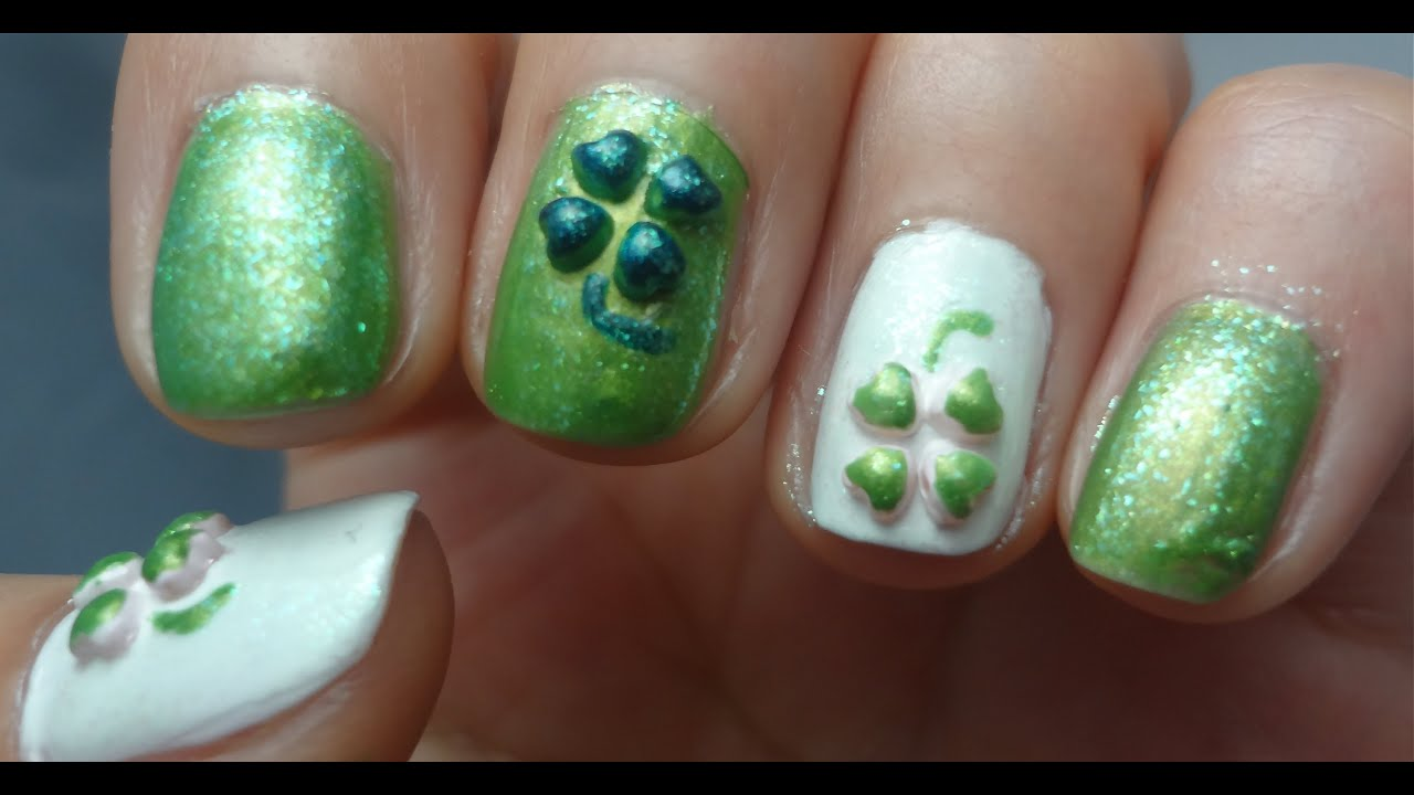 3d Lucky Clover Nail Design Tutorial For St Patricks Day