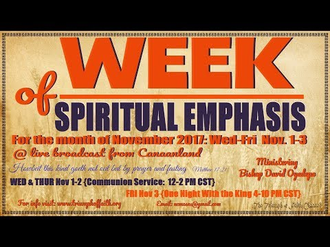 Week Of Spiritual Emphasis Day 2 November 2017