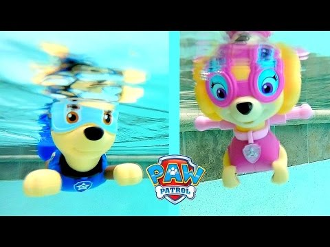 Paw Patrol Pool Party Bath Toys Paddlin Pup Underwater Toys Rescue Marshal, Skye, Chase, Rocky