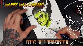 Bride of Frankenstein Draw and Paint Halloween! Tattoo Flash Watercolour Ink Illustration