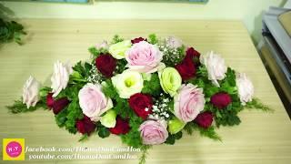Cách cắm hoa để bàn đẹp HOA HỒNG ,Baby trắng và hoa Cát tường Cắm hoa Oval