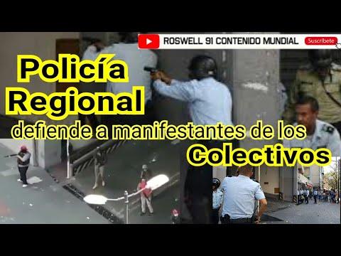 Policía Regional Le Cae A Tiros A Los Colectivos Armados Que Disparaban A Manifestantes//compartir//