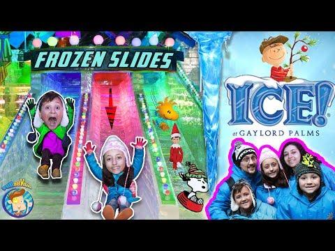 INDOOR ICE SLIDES! 2 MILLION LBS of FROZEN Charlie Brown Christmas FUNnel Vision 9° ORLANDO, FL Vlog