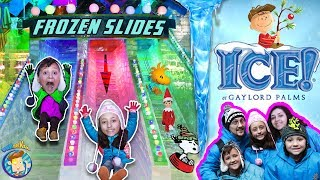 INDOOR ICE SLIDES! 2 MILLION LBS of FROZEN Charlie Brown Christmas FUNnel Vision 9° ORLANDO, FL Vlog