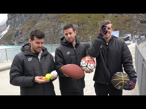 Sports Balls Vs. Magnus Effect from 200m Dam! | How Ridiculous