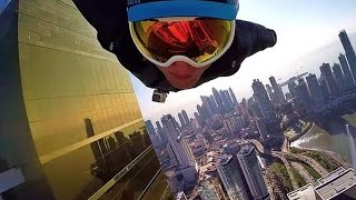 Flying in a suit wing in Dubai! Jet pack! Span in wingsuit through the ring of fire!